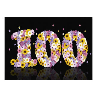 100th Birthday party with flowered letters Invitation