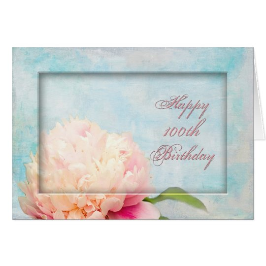 100th Birthday - Peony framed Card