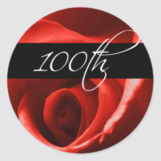 100th Birthday Rose | 100th Corporate Anniversary Round Sticker