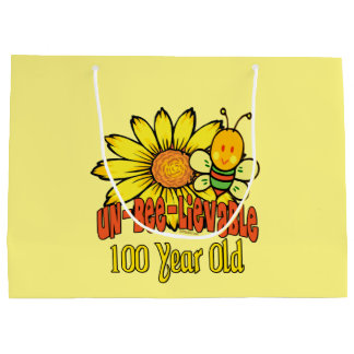 100th Birthday - Unbelievable at 100 Years Old Large Gift Bag