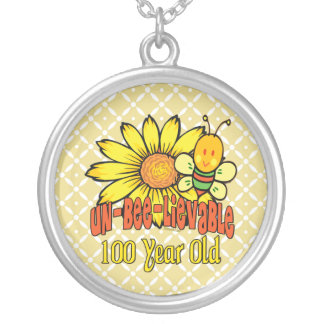 100th Birthday - Unbelievable at 100 Years Old Silver Plated Necklace