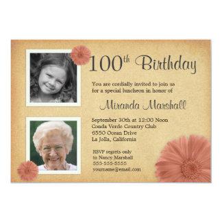 """100th Birthday Vintage Daisy 2 Photo Invites 5"""" X 7"""" Invitation Card"""