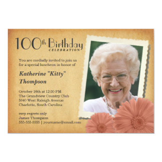 100th Birthday Vintage Daisy Photo Invitations