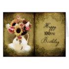 100TH BIRTHDAY - VINTAGE FLORAL BOOK CARD