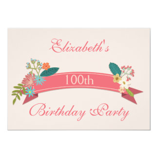 100th Birthday Vintage Flowers Pink Banner 13 Cm X 18 Cm Invitation Card