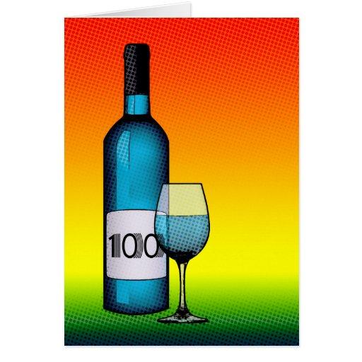 100th birthday : wine bottle & glass card