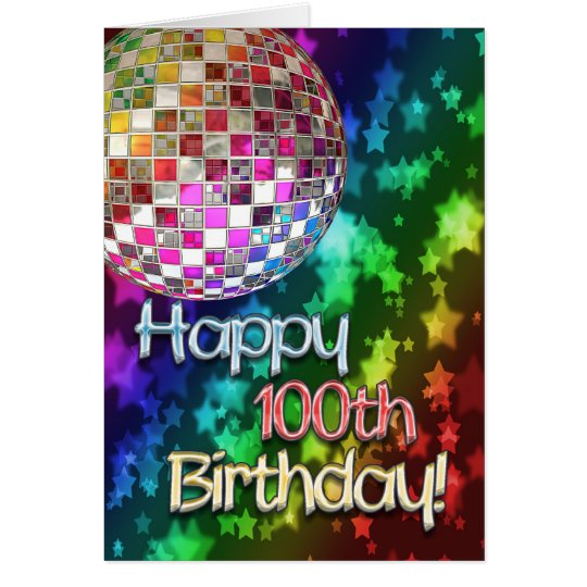 100th birthday with disco ball and rainbow of