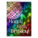 100th birthday with disco ball and rainbow of star greeting card