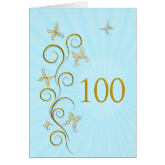 100th Birthday with golden butterflies Cards