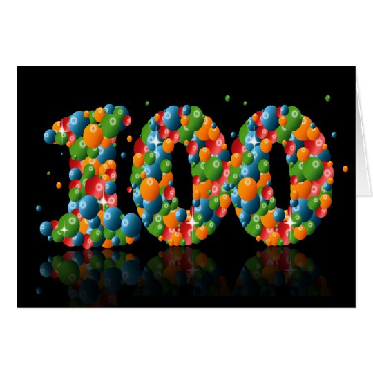 100th birthday with numbers formed from balls card