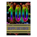 100th Birthday with rainbow bubbles and fireworks