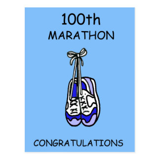 100th Marathon Congratulations, blue. Postcard