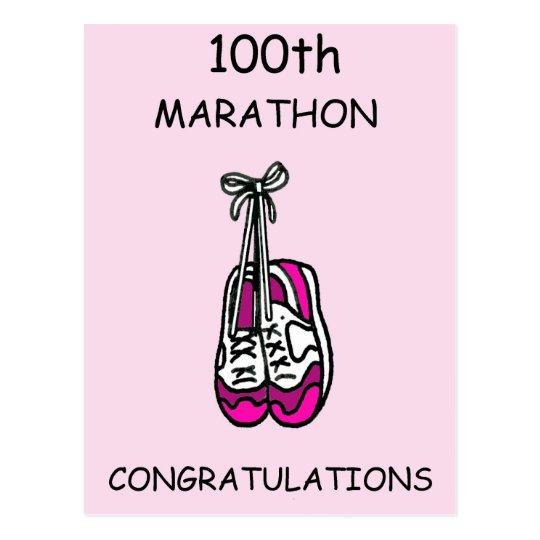100th marathon congratulations for a female. postcard