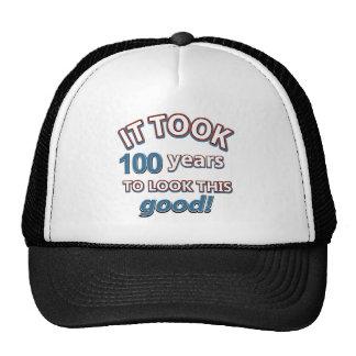 100th year birthday designs cap