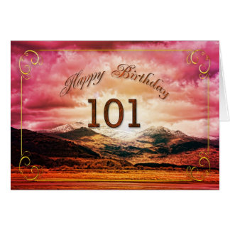 101 birthday, Sunset over the mountains Greeting Card