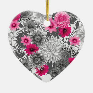 101 pink and grey photographic aop ceramic heart decoration