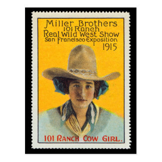 101 Ranch Cowgirl Poster Stamp,#1, Panama-Pacific  Postcard