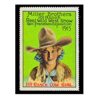 101 Ranch Cowgirl Poster Stamp #2, Panama Pacific  Postcard