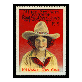 101 Ranch Cowgirl Poster Stamp #4, Panama-Pacific Postcard