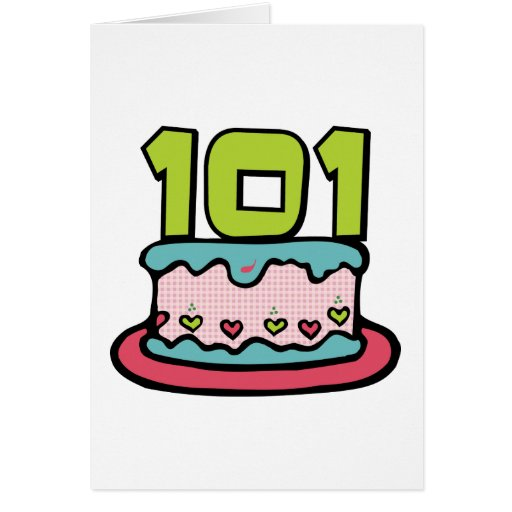 101 Year Old Birthday Cake Greeting Cards