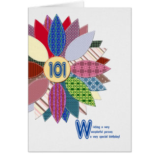 101 years old, stitched flower birthday card