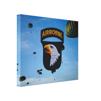 101st ABN Airborne Screaming Eagles Veterans Vets Stretched Canvas Print