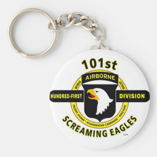 """101ST AIRBORNE DIVISION """"SCREAMING EAGLES"""" BASIC ROUND BUTTON KEY RING"""