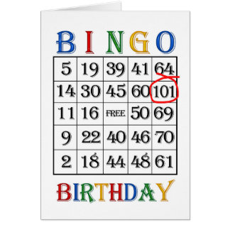 101st Birthday Bingo card
