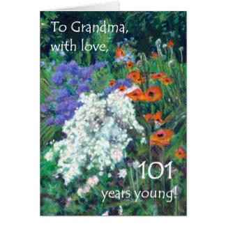 101st Birthday Card for Grandmother - June Garden