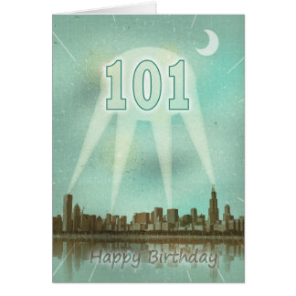 101st Birthday card with a city and spotlights