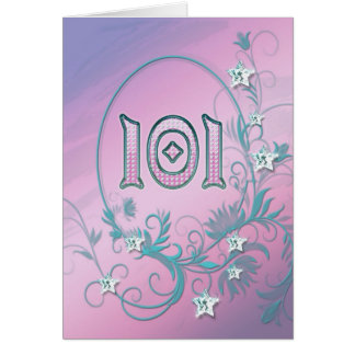 101st Birthday card with diamond stars