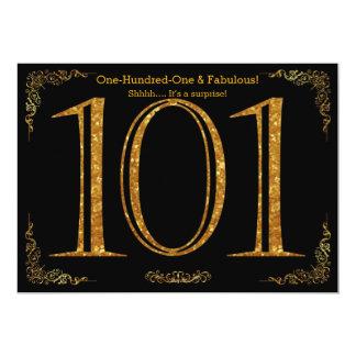 101st Birthday party,Great Gatsby,black gold glitt 13 Cm X 18 Cm Invitation Card