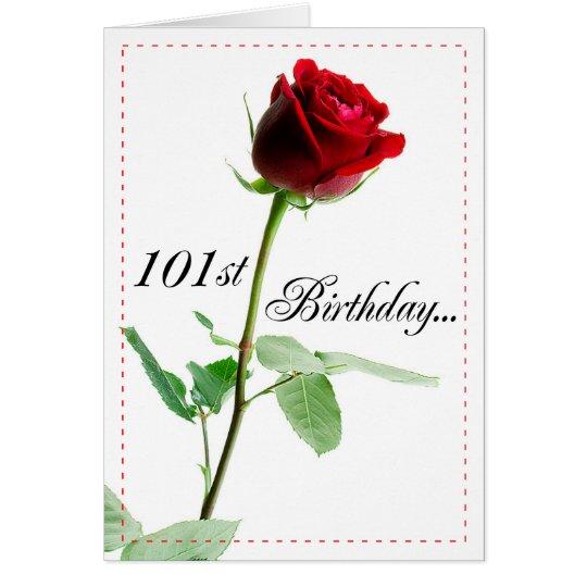 101st Birthday Red Rose Card