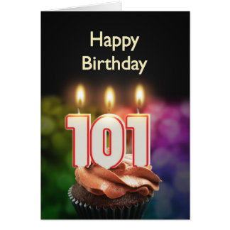 101st Birthday with cake and candles Card