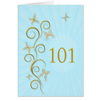 101st Birthday with golden butterflies Card