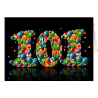 101st birthday with numbers formed from balls greeting card