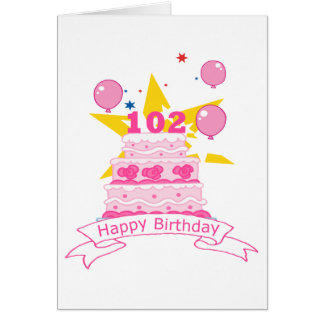 102 Year Old Birthday Cake Greeting Card