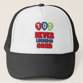 102 year old birthday designs trucker hat