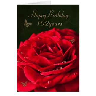 102nd Birthday Card with a classic red rose