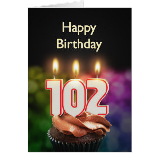 102nd Birthday card with Candles
