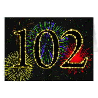 102nd Birthday card with fireworks