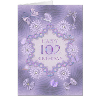 102nd birthday card with lavender flowers