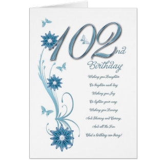 102nd birthday in teal with flowers greeting card