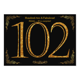 102nd Birthday party,Great Gatsby,black gold glitt Card