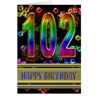 102nd Birthday with rainbow bubbles and fireworks Card