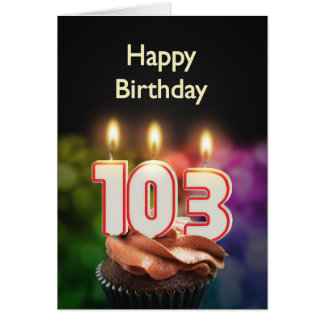 103rd Birthday card with Candles