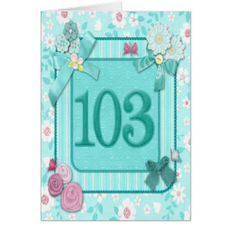 103rd birthday card with flowers