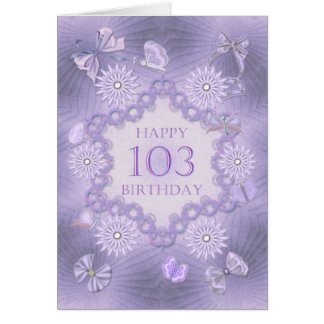 103rd birthday card with lavender flowers