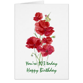 103rd Birthday Watercolor Red Poppy Hummingbird Card