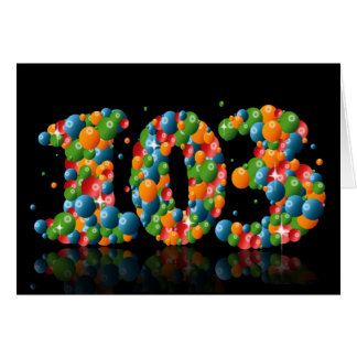 103rd birthday with numbers formed from balls greeting card